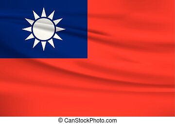 Illustration of a waving flag of the Taiwan