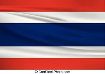 Illustration of a waving flag of the Thailand