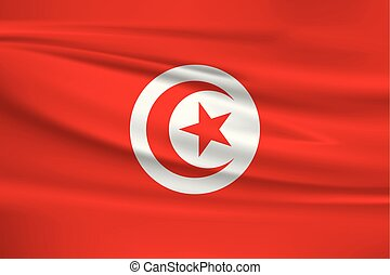 Illustration of a waving flag of the Tunisia
