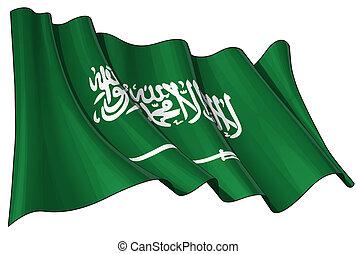 Saudi Arabian Flag - Illustration of a Waving Saudi Arabian...