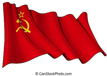 Illustration of a waving Soviet Union flag against white background