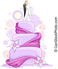 Illustration of a Wedding Cake with Bride and Groom Figures on Top