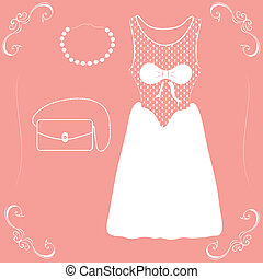 illustration of a wedding dress with shoes and handbag