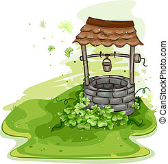 Illustration of a Well Surrounded by Shamrocks