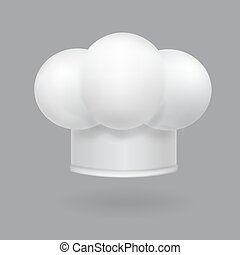 Illustration of a white chef hat icon realistic