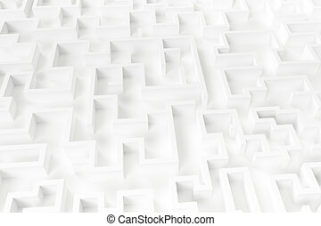 Illustration of a white large maze or labyrinth.3d rendering