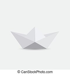 Illustration Of A White Origami Boat