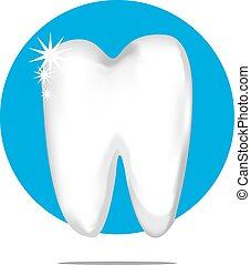 Illustration of a white tooth with blue circle background