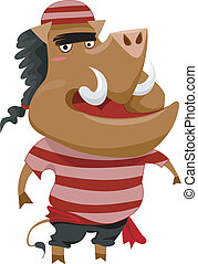 Wild Boar Pirate - Illustration of a Wild Boar Pirate...