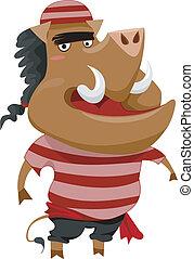 Wild Boar Pirate - Illustration of a Wild Boar Pirate...