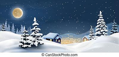 illustration of a winter landscape. Snowy Christmas night.
