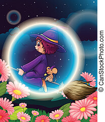 illustration of a witch flying on broom