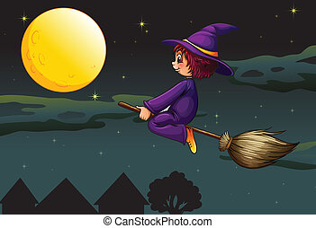 witch on a broom - illustration of a witch on a broom