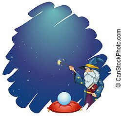 Illustration of a wizard holding a magic wand and a book in front of the crystal ball on a white background