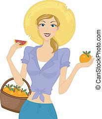 Illustration of a Woman Celebrating Grapefruit Month