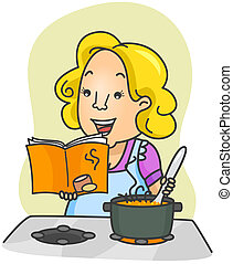 Illustration of a Woman Cooking Food Based on Instructions From a Cookbook