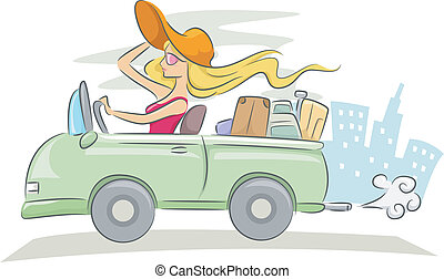 Woman Driving - Illustration of a Woman Driving a...