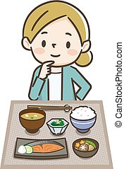 Illustration of a woman eating japanese food