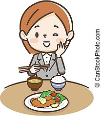Illustration of a woman eating shrimp fly