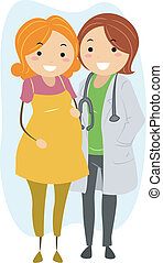 Prenatal Checkup - Illustration of a Woman Getting a...