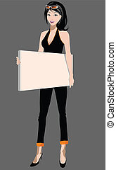 blank sign - illustration of a woman holding blank sign