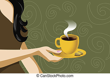 cookies - illustration of a woman holding coffee cup with ...