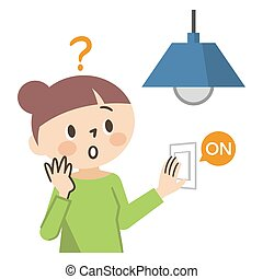 Illustration of a woman in trouble without electricity on a white background