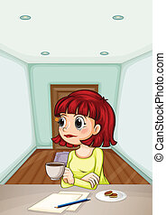 Illustration of a woman inside the room drinking her coffee while making a report