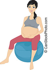 Exercise Ball - Illustration of a Woman Sitting on an...