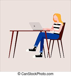 Illustration of a woman with a beard sitting at a table with a laptop