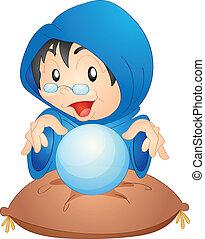 a woman with magic globe