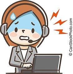 Illustration of a woman working at a call center. She is dealing with complaints.