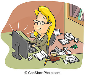 Dirty Office - Illustration of a Woman Working in a Dirty...