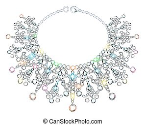 Illustration of a woman's necklace sparkling shiny beautiful wedding