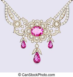 illustration of a woman's necklace with precious stones