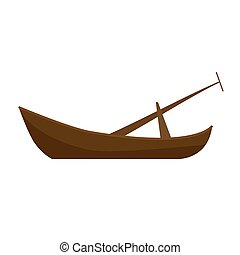 Illustration of a wooden boat on a white background. Vector.