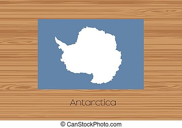 Illustration of a wooden floor with the flag of Antartica -...