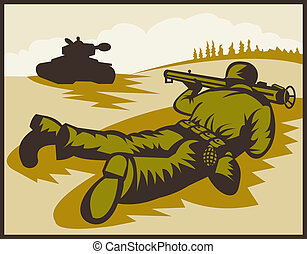 World two soldier aiming bazooka at battle tank. - ...