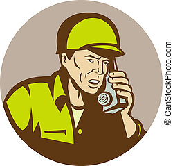 illustration of a World War two american Soldier talking on radio set inside a circle.