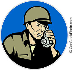 world war two soldier talking on radio - illustration of a...