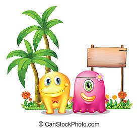 Illustration of a yellow and a pink monster couple standing in front of the empty signage on a white background