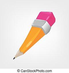 Illustration of a yellow cartoon pencil.