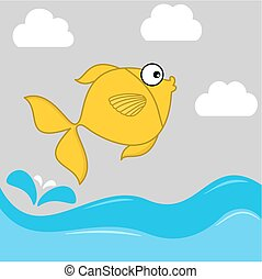 illustration of a yellow fish jumping from the water