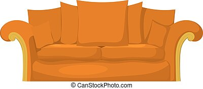 Illustration of a yellow sofa with pillows on a white background. Cartoon style. Isolate.