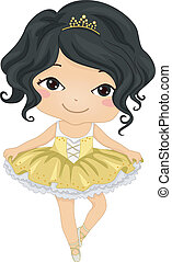 Asian Ballerina - Illustration of a Young Asian Ballerina...