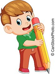 a young boy holding big pencil