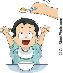 Baby Food - Illustration of a Young Boy Reaching for a Spoon...