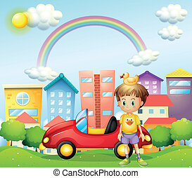 Illustration of a young boy with a rubber duck and his car in front of the high buildings