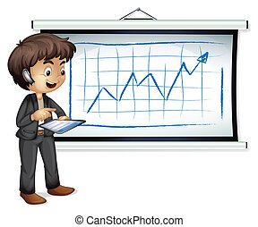 Illustration of a young businessman standing in front of the whiteboard with a gadget on a white background