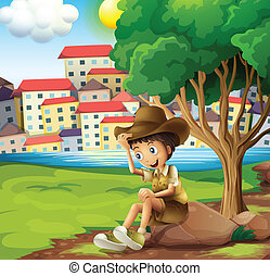 Illustration of a young explorer sitting above the rock across the tall buildings
